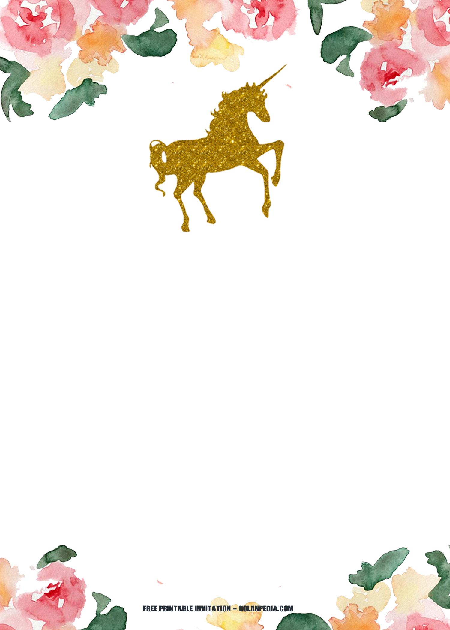 free printable unicorn invitation