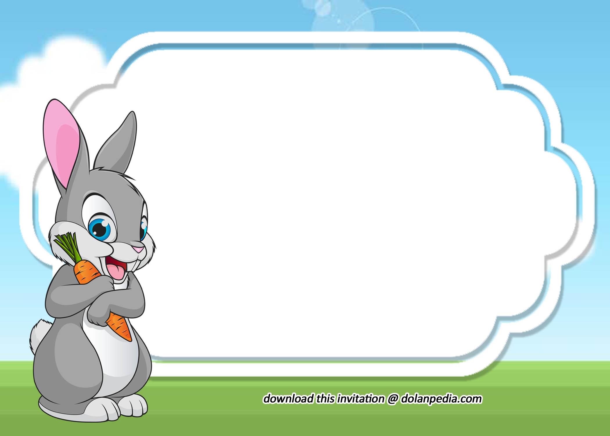 free printable cute rabbit invitation