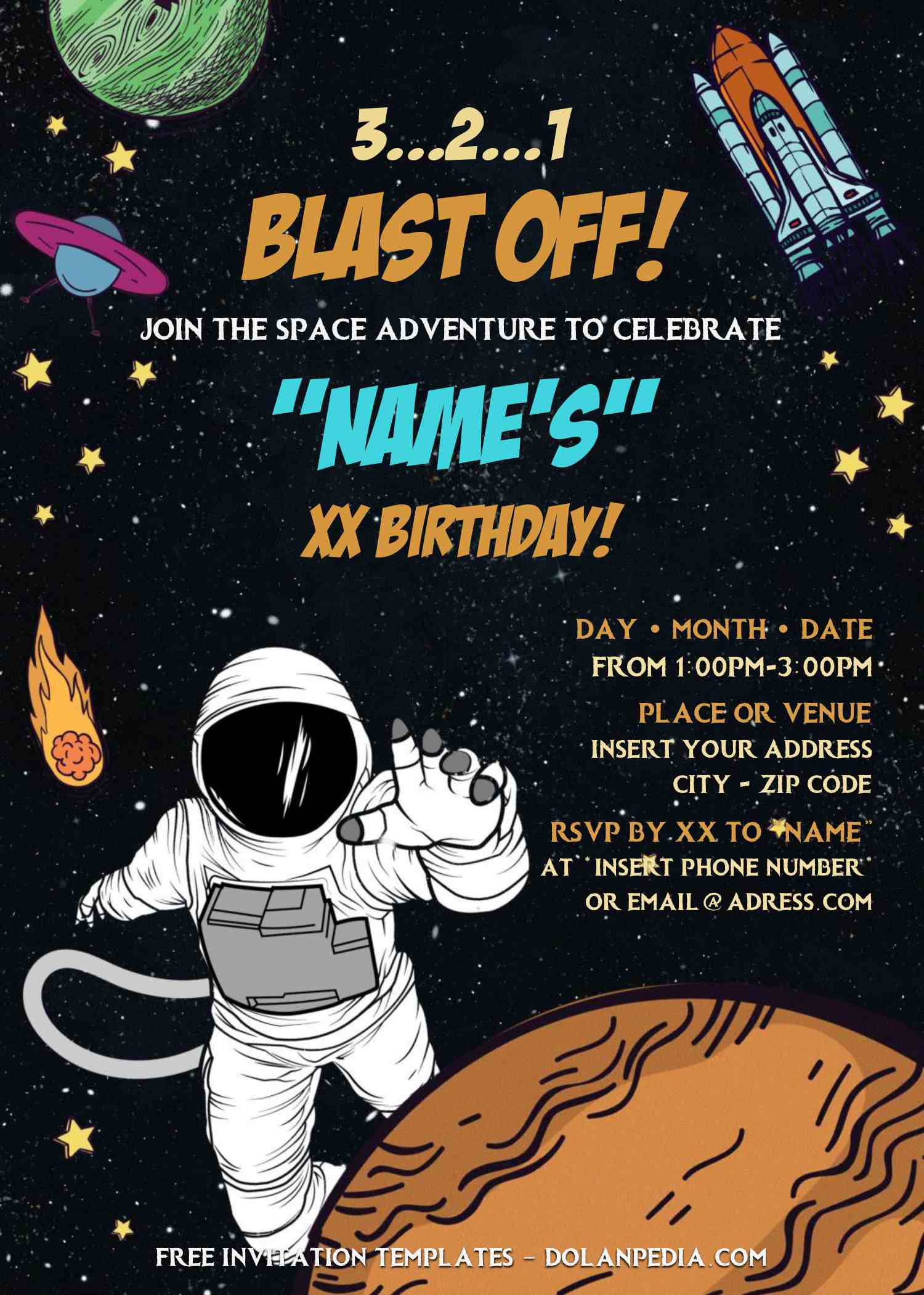 free astronaut birthday invitation