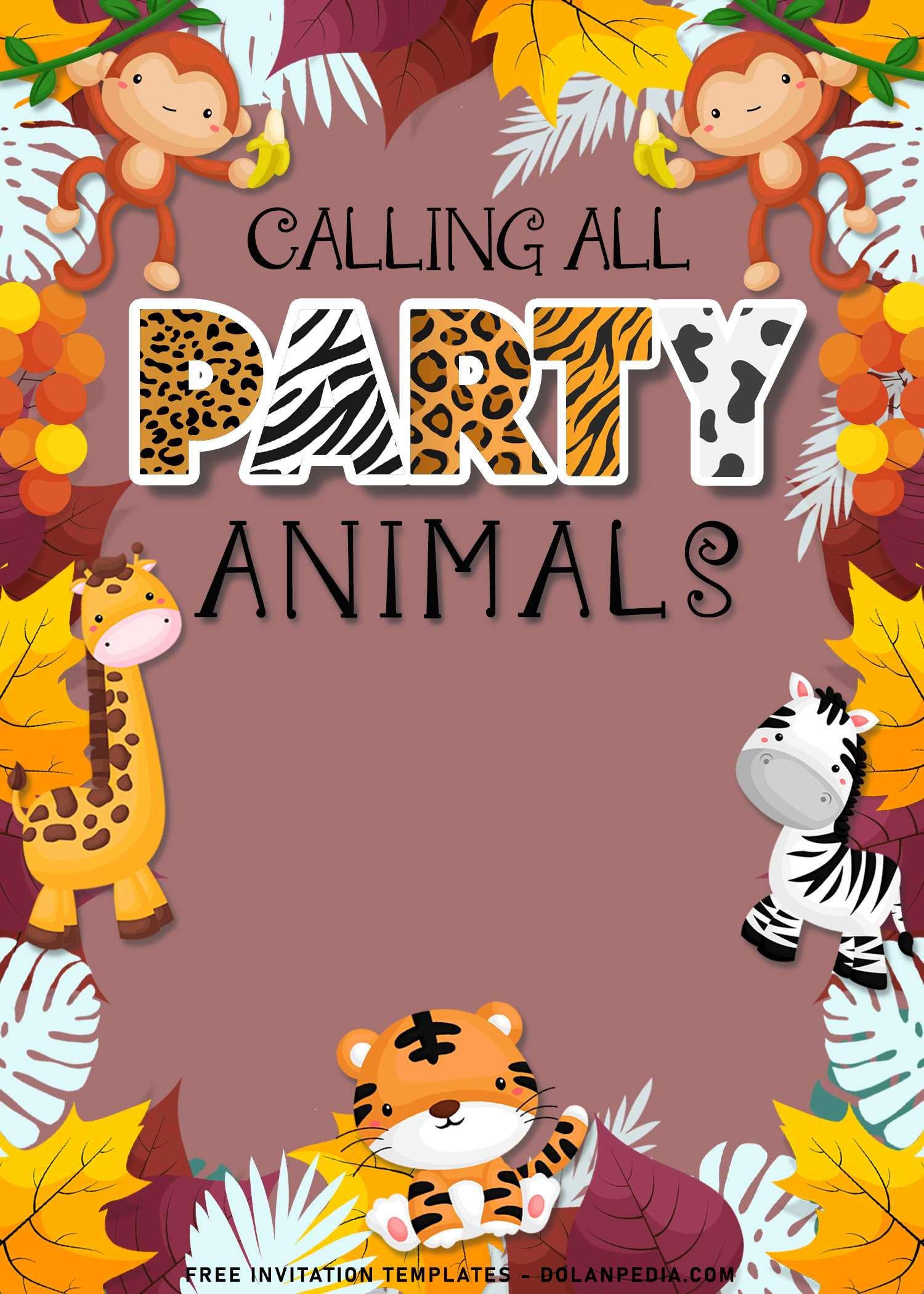 10 party animals birthday invitation