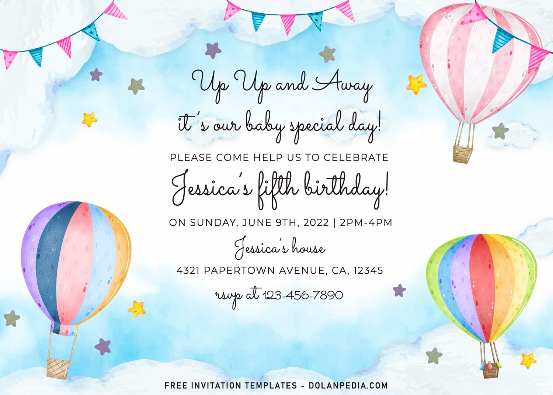 7 watercolor hot air balloon birthday