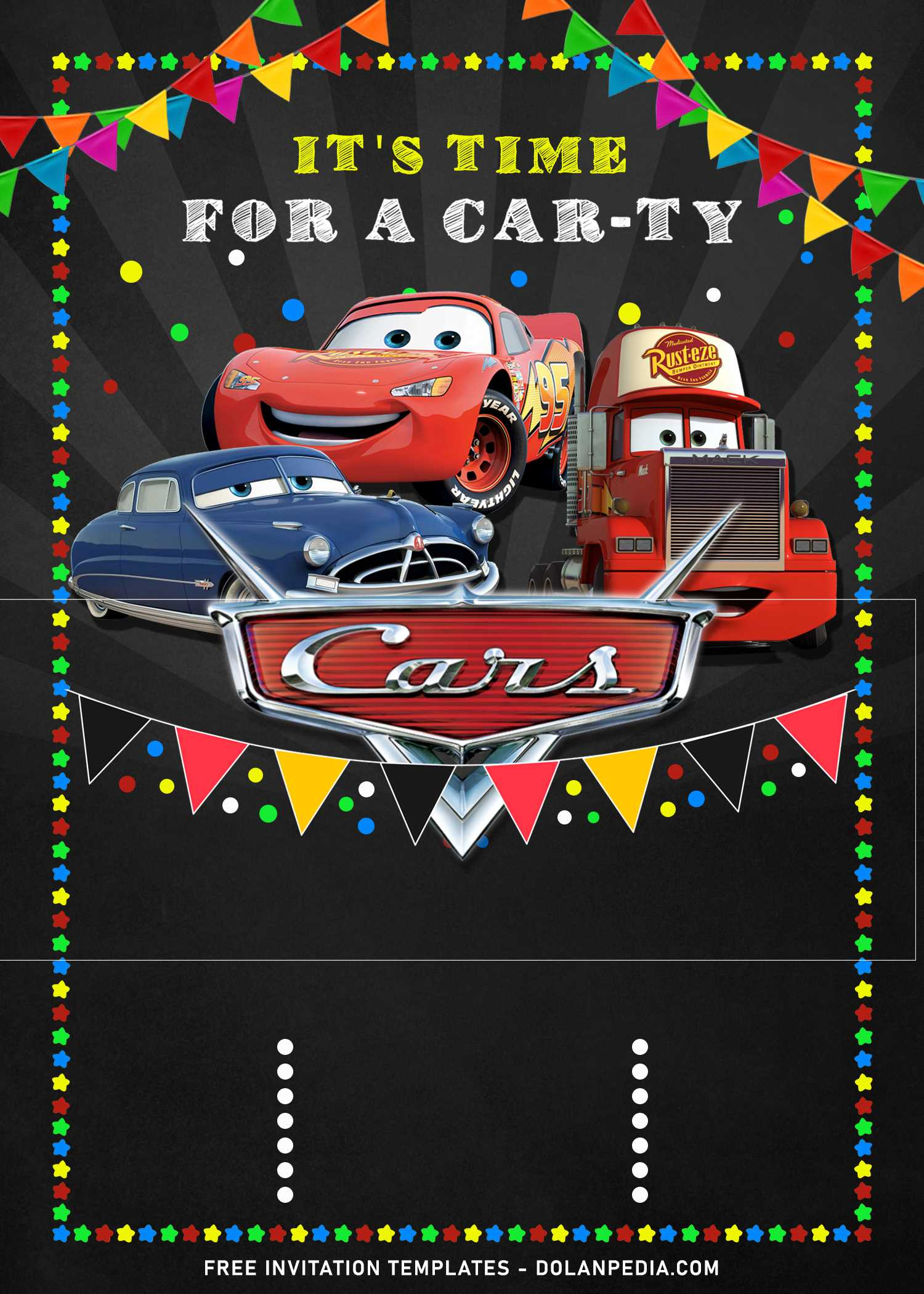9 cool disney cars birthday invitation