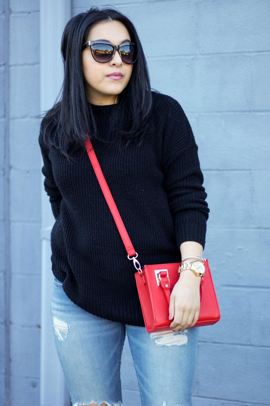 black sweater mini bag