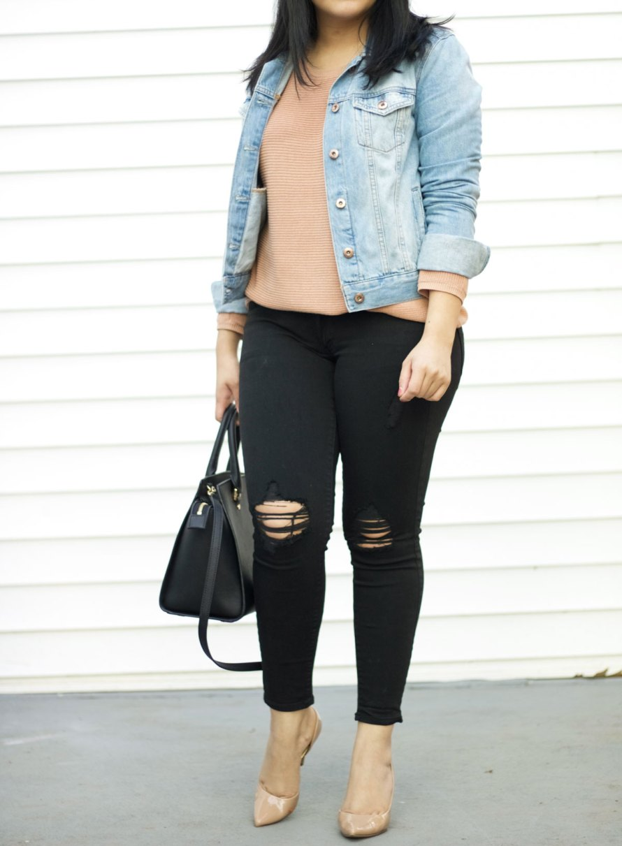 pink black jean