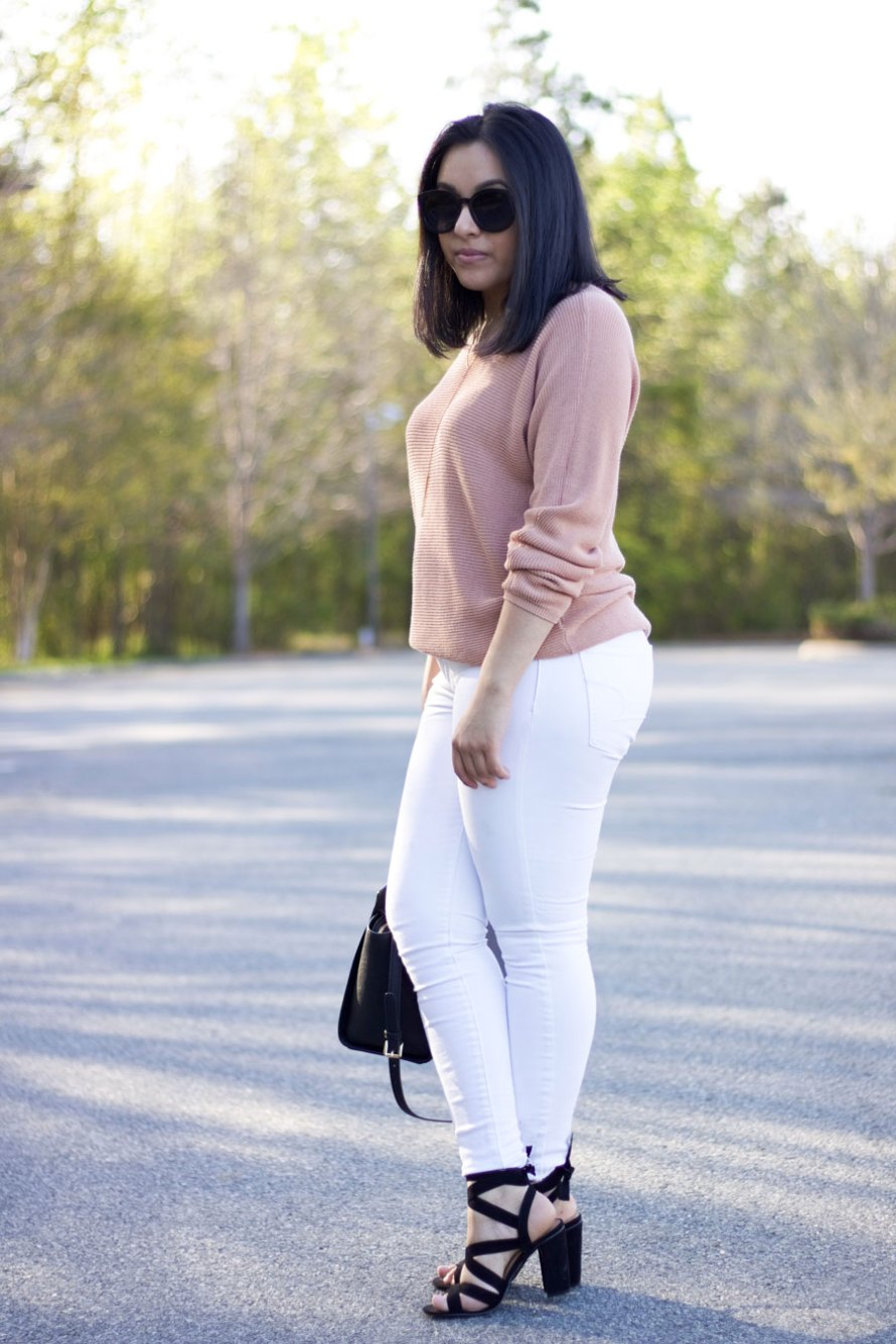 pink sweater white spring