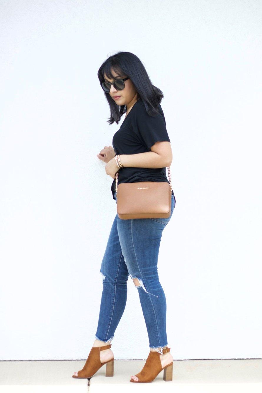 casual t-shirt heels
