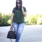 green top ripped denim