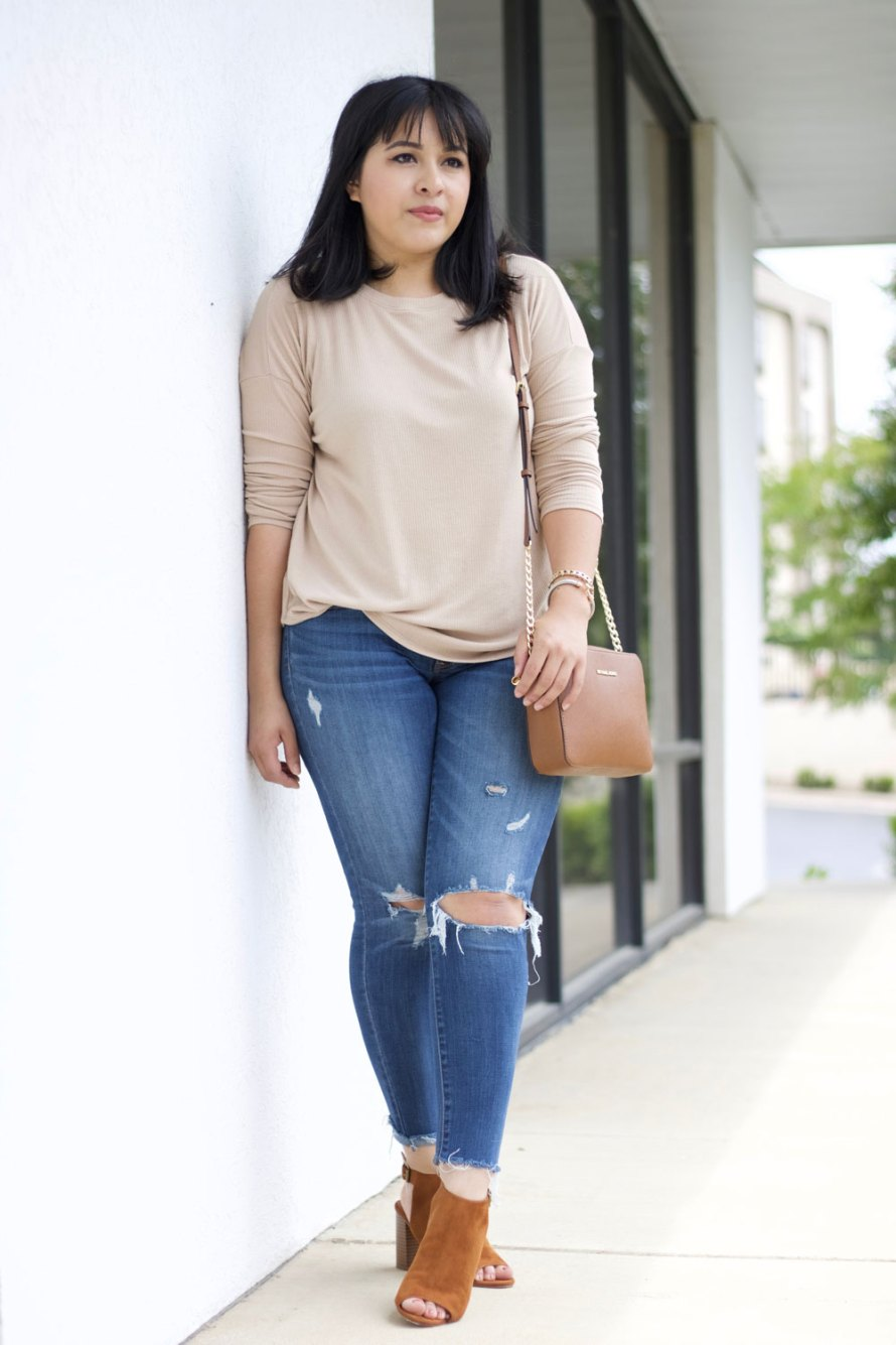 nude sweater outfit