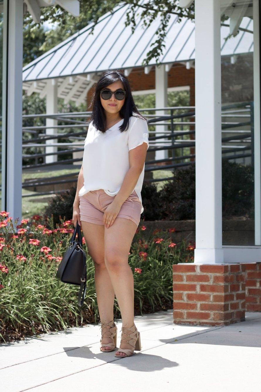 mauve shorts white shirt