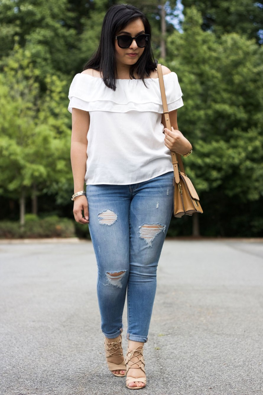 off shoulder ruffle top gold details