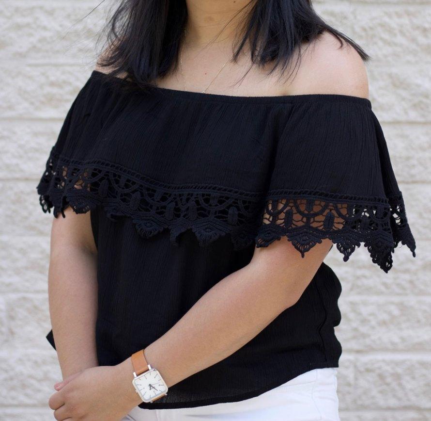 off shoulder crochet detail shirt