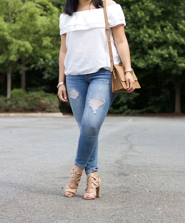 off shoulder ruffle denim