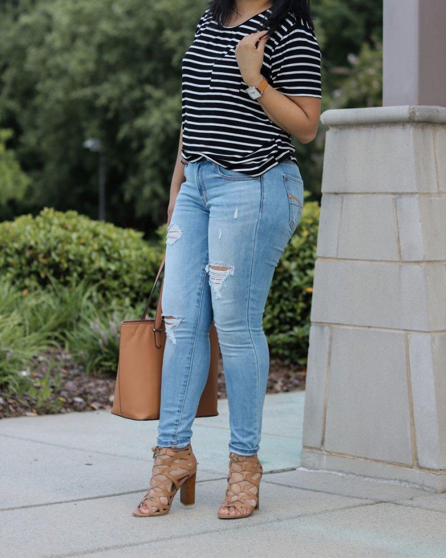 stripes jeans heels