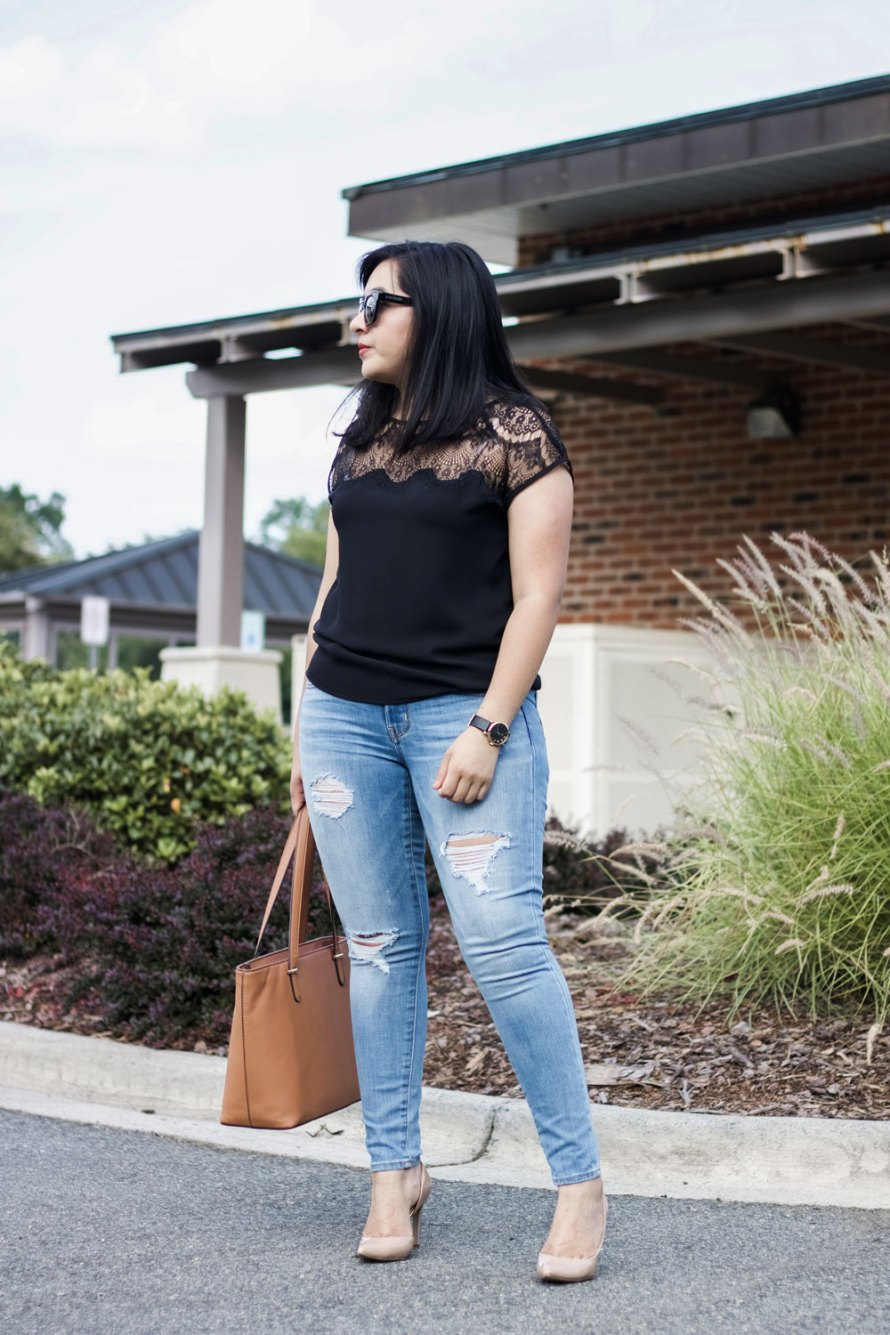 lace detail top summer outfit ideas
