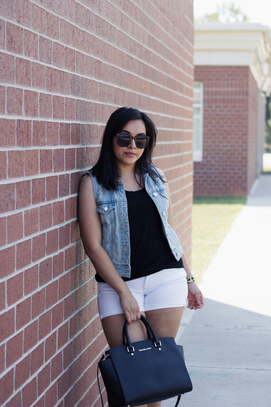 denim vest white shorts cognac heels summer outfit