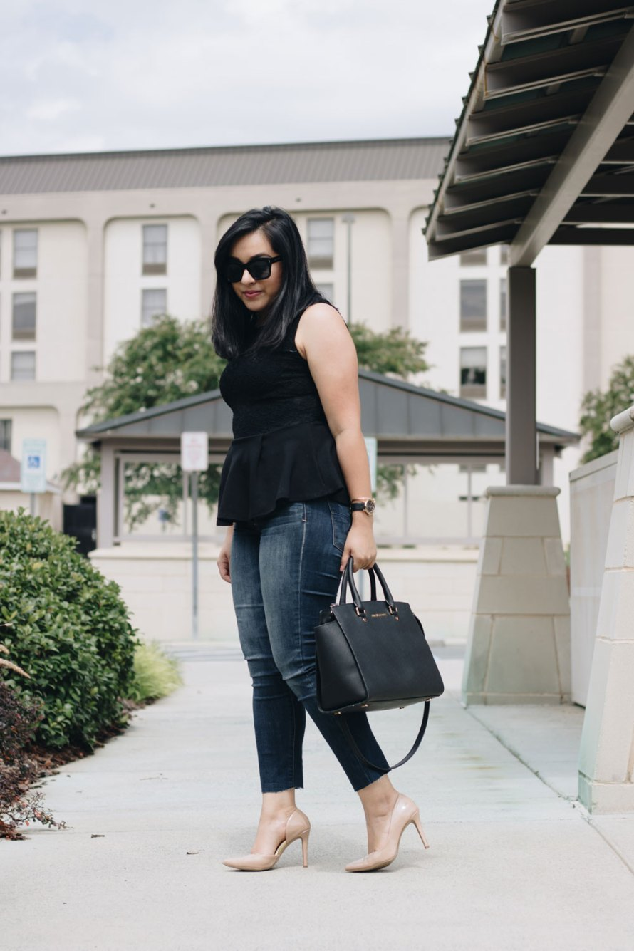 peplum jeans heels outfit
