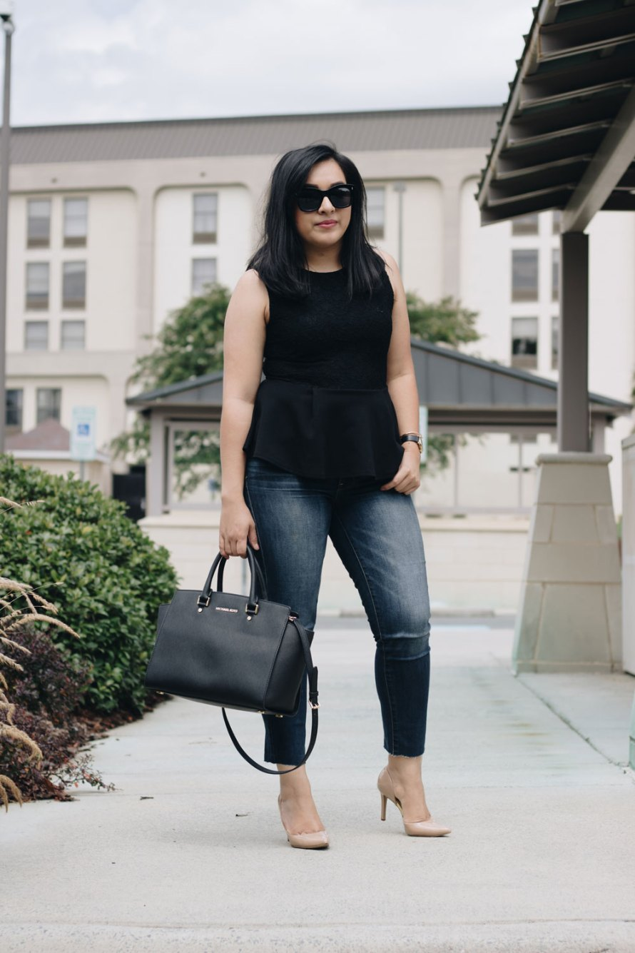 peplum casual chic outfit