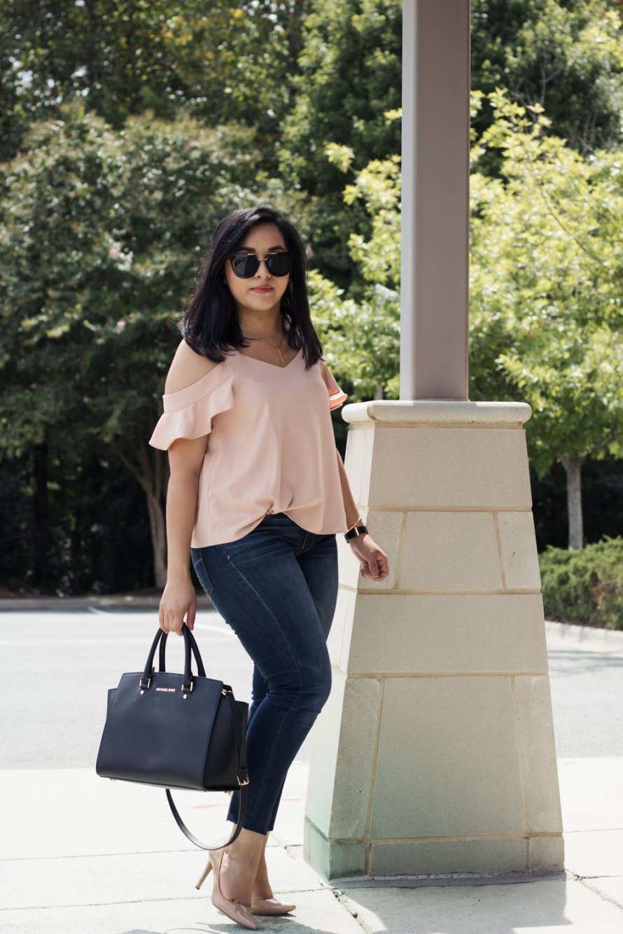 blush pink ruffle sleeve top - dark denim- nude heels- black bag - summer casual chic outfit