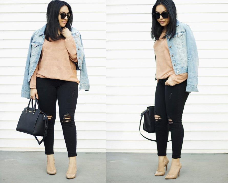 pink sweater denim jacket black pants