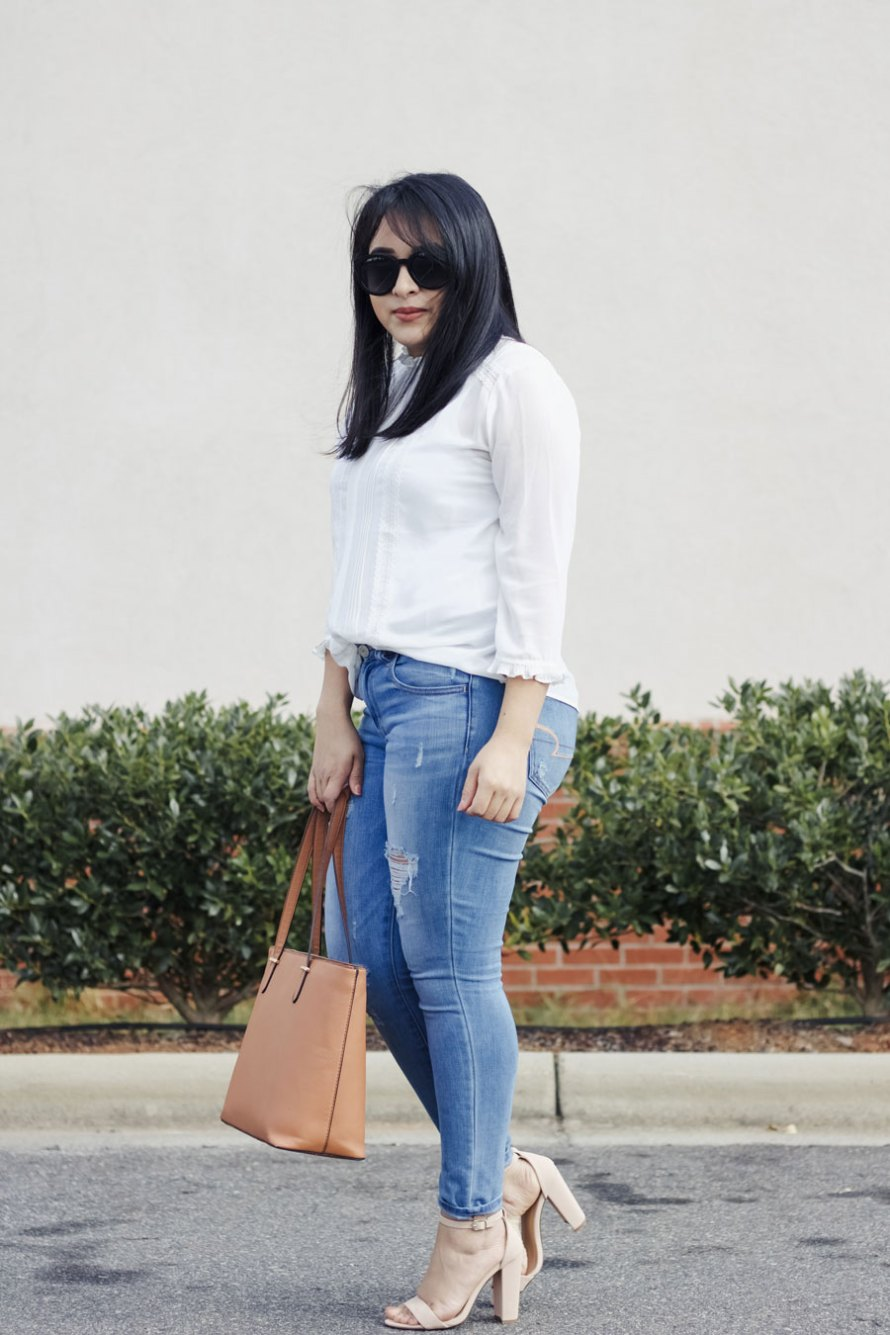 shear white denim jeans heels