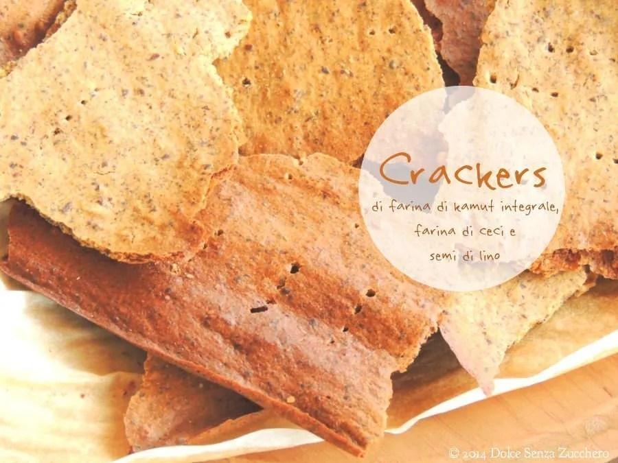 Semplici Crackers con Farina di Kamut Integrale, Farina di Ceci e Semi di Lino