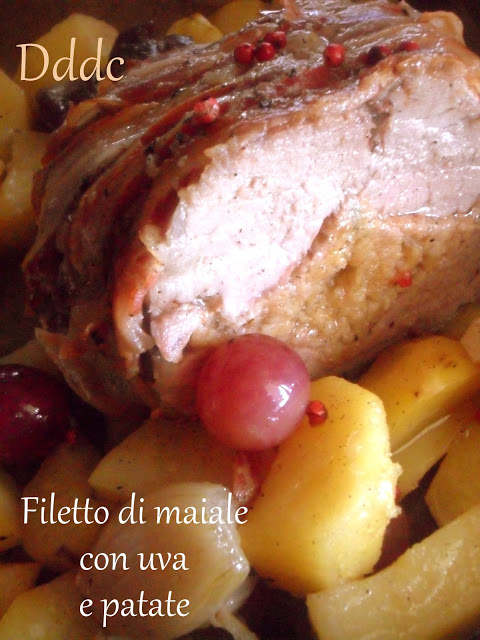 Filetto di maiale farcito,con uva ,patate e scalogni…….