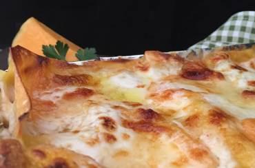 Lasagne alla zucca, con funghi e Brie