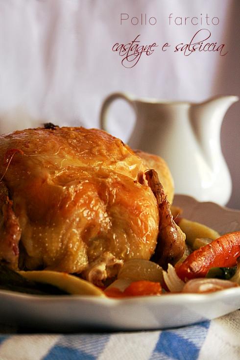 Pollo farcito di castagne e salsiccia con salsa di melagrana