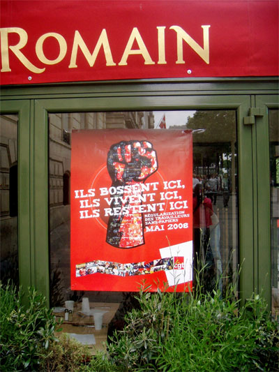 image of strike poster of French undocumented immigrants