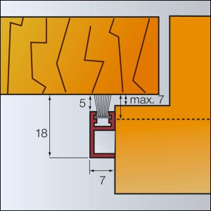 Zargo B18 - Kunststoff-Schiene - zum Abdichten mit Bürste