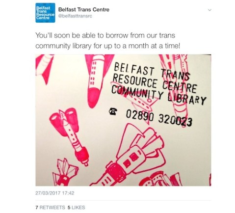 Belfast trans centre's community library