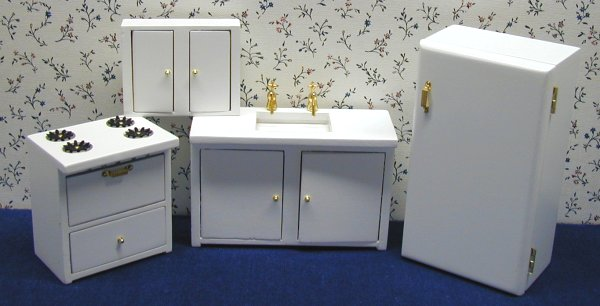 White Dollhouse Kitchen Furniture In 1 Scale