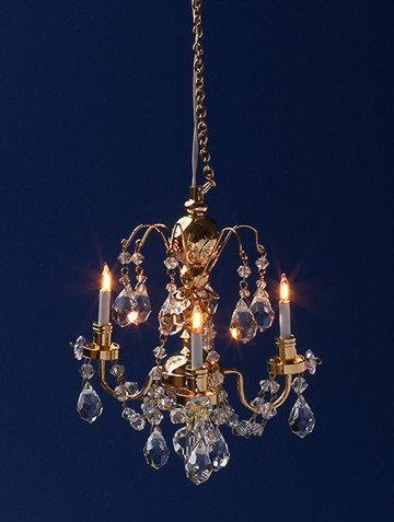 Dolls House Light Crystal 3 Arm Chandelier