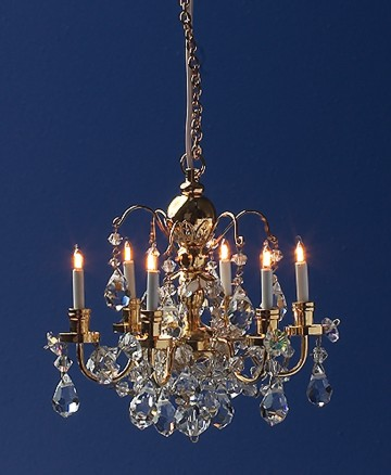 Dolls House Light Crystal 6 Arm Chandelier