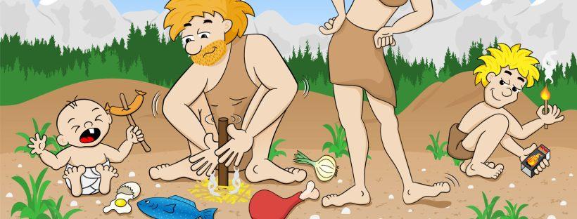 Steinzeitfamilie macht Feuer für's Mittagessen (Foto: Fotolia antimartina)