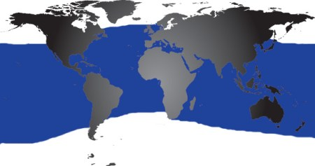 Map of where Bottlenose Dolphins Live   Dolphin Facts and Information Map bottlenose distribution