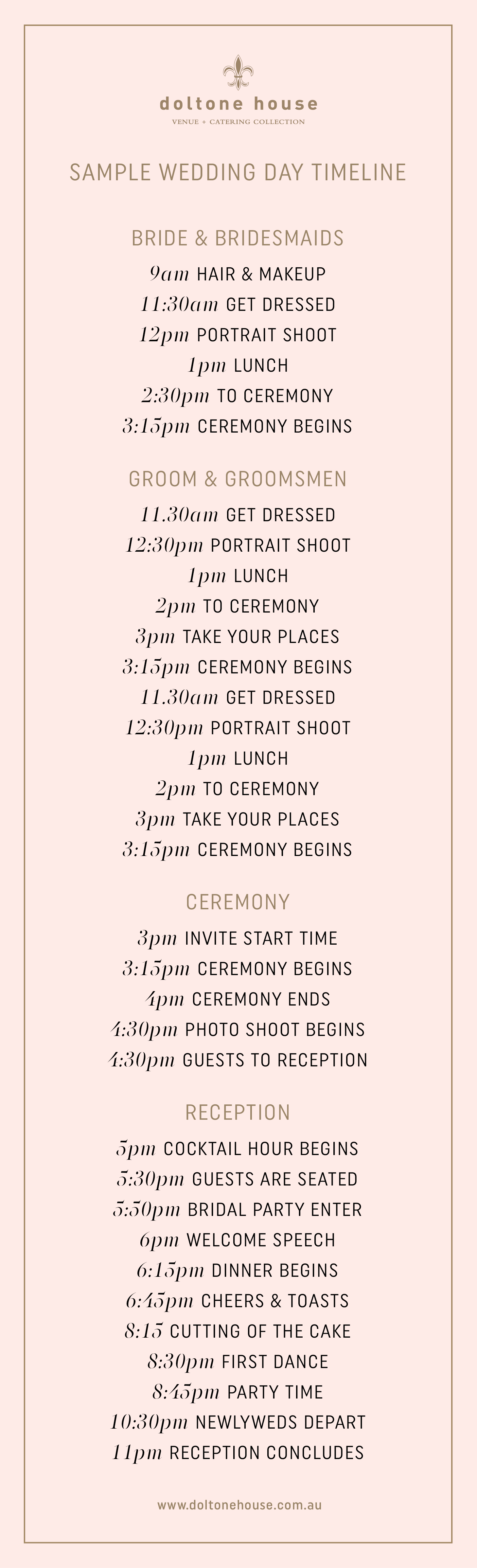 A Sample Wedding Day Timeline