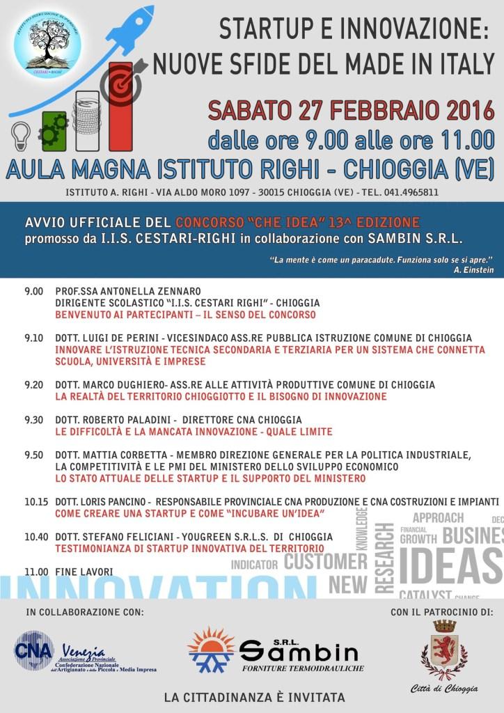 locandina Convegno Startup e innovazione a Chioggia nella scuola ITIS Righi