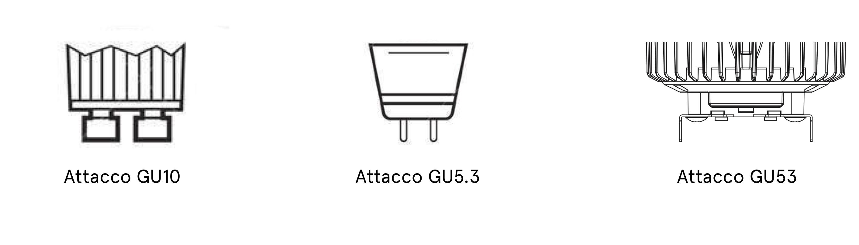 attacchi faretti gu10 gu5.3 gu53