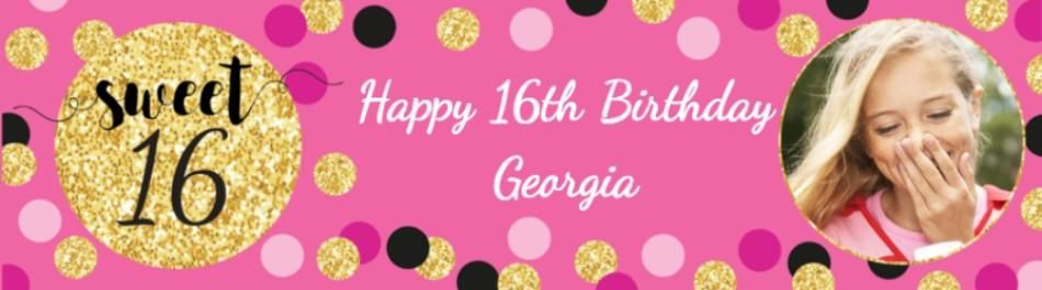 Personalised Photo Upload 16th Birthday Banner With Sweet 16 Pink Gold And Black Dots