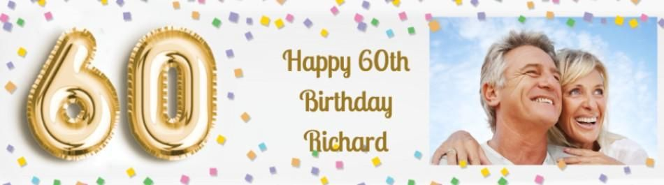 Personalised Photo Upload 60th Birthday Banner Featuring A Large 60 Balloon And Colourful Confetti Design