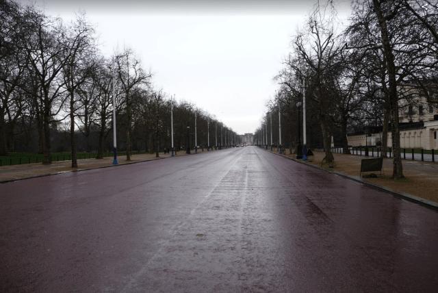 The Mall, v dáli Buckinghamský palác
