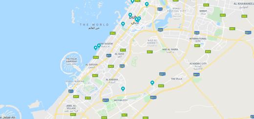 mapa co vidět v Dubaji