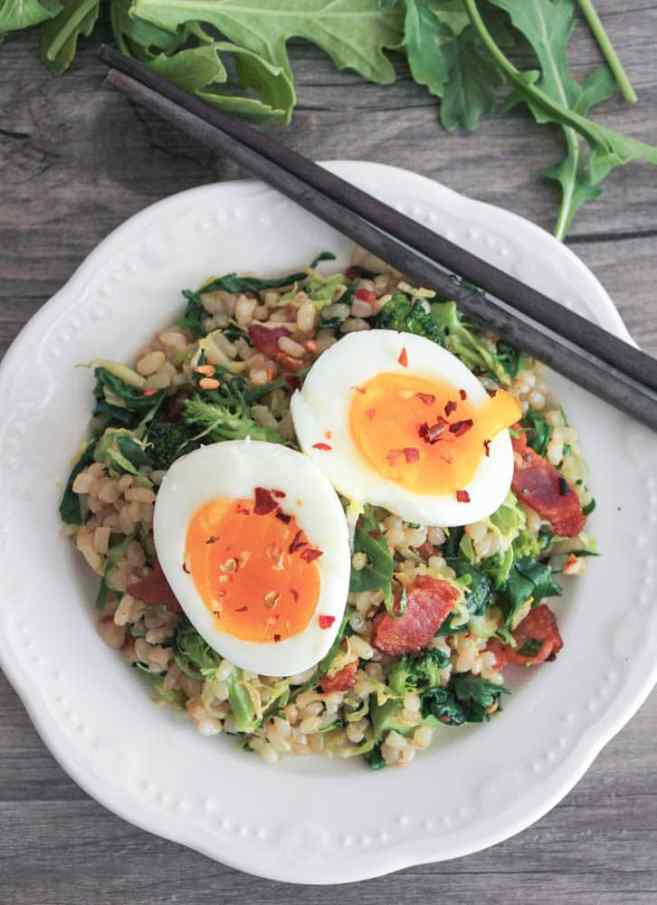 healthy-bacon-fried-brown-rice-with-broccoli-wilted-greens-and-egg-2