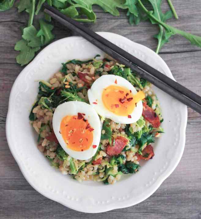 healthy-bacon-fried-brown-rice-with-broccoli-wilted-greens-and-egg-6