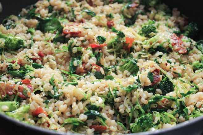 healthy-bacon-fried-brown-rice-with-broccoli-wilted-greens-and-egg-step-7