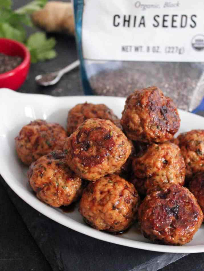 Chia seed Meatballs with ginger soy glaze (gluten free)