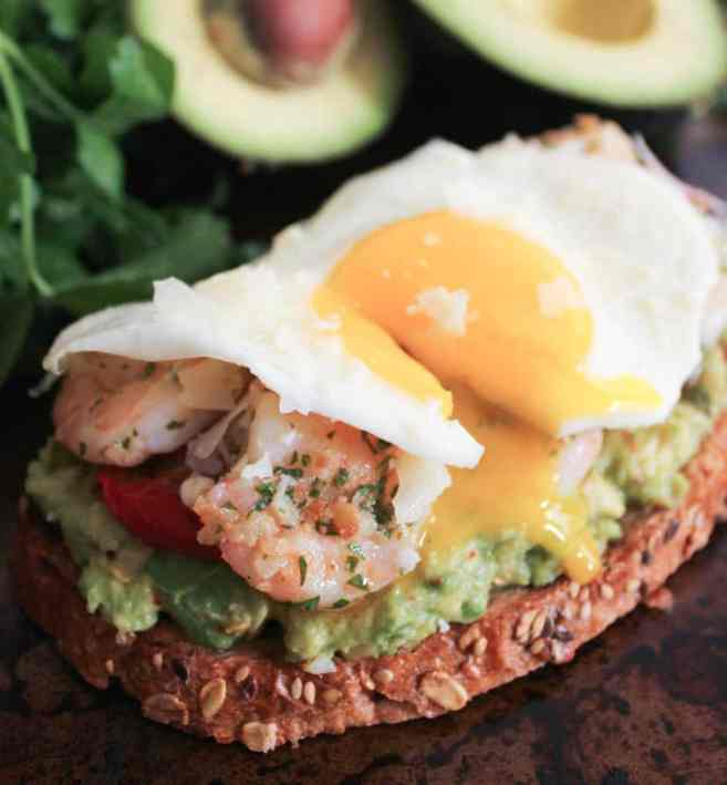 Avocado-Toast-with-Charred-Tomatoes-Garlic-Shrimp-and-Fried-Eggs-9