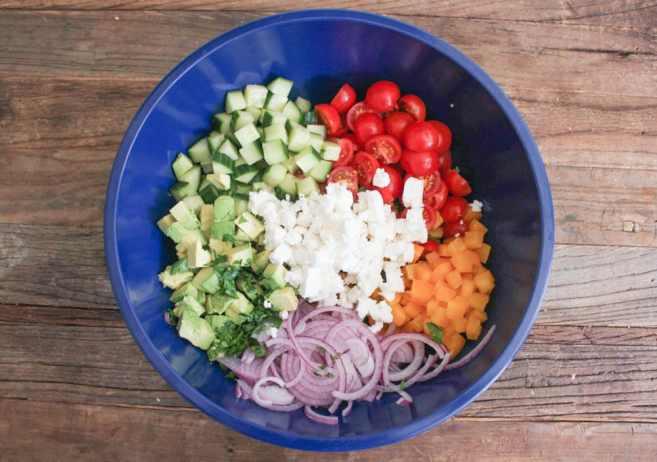 Chopped-Greek-Salad-With-Avocado-Chickpeas-and-Lemon-Dressing-Step-3