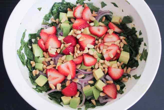 Summer-Kale-Salad-with-Strawberries-Avocado-Pine-Nuts-and-Goat-Cheese-Step-5